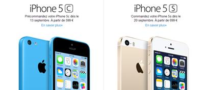 Nouveaux iPhone 5C et 5S Apple