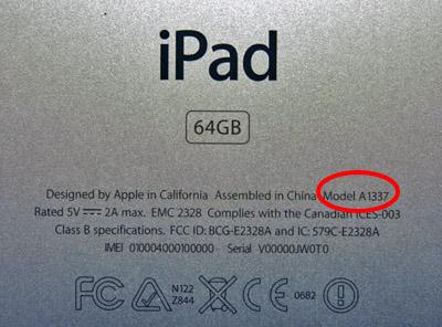 Numéro série iPad
